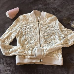 Free People Lace Zip-Up